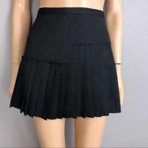 BCBG MaxAzria Pleated Pinstripe Mini Skirt Black